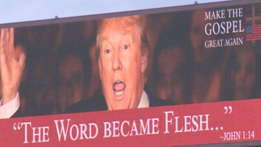 Trump being portrayed as Jesus - image via Twitter